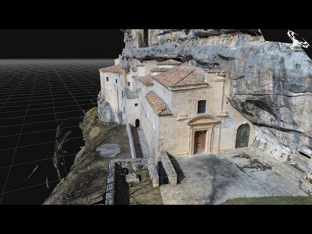 Eremo Santo Spirito a Majella, fotogrammetria aerea, ricostruzione modello 3D animato