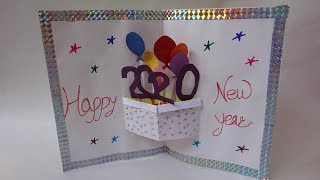 Easy Handmade Happy New Year 2020 Card Idea DIY pop up Greeting Cards for New Year MinalCrafts