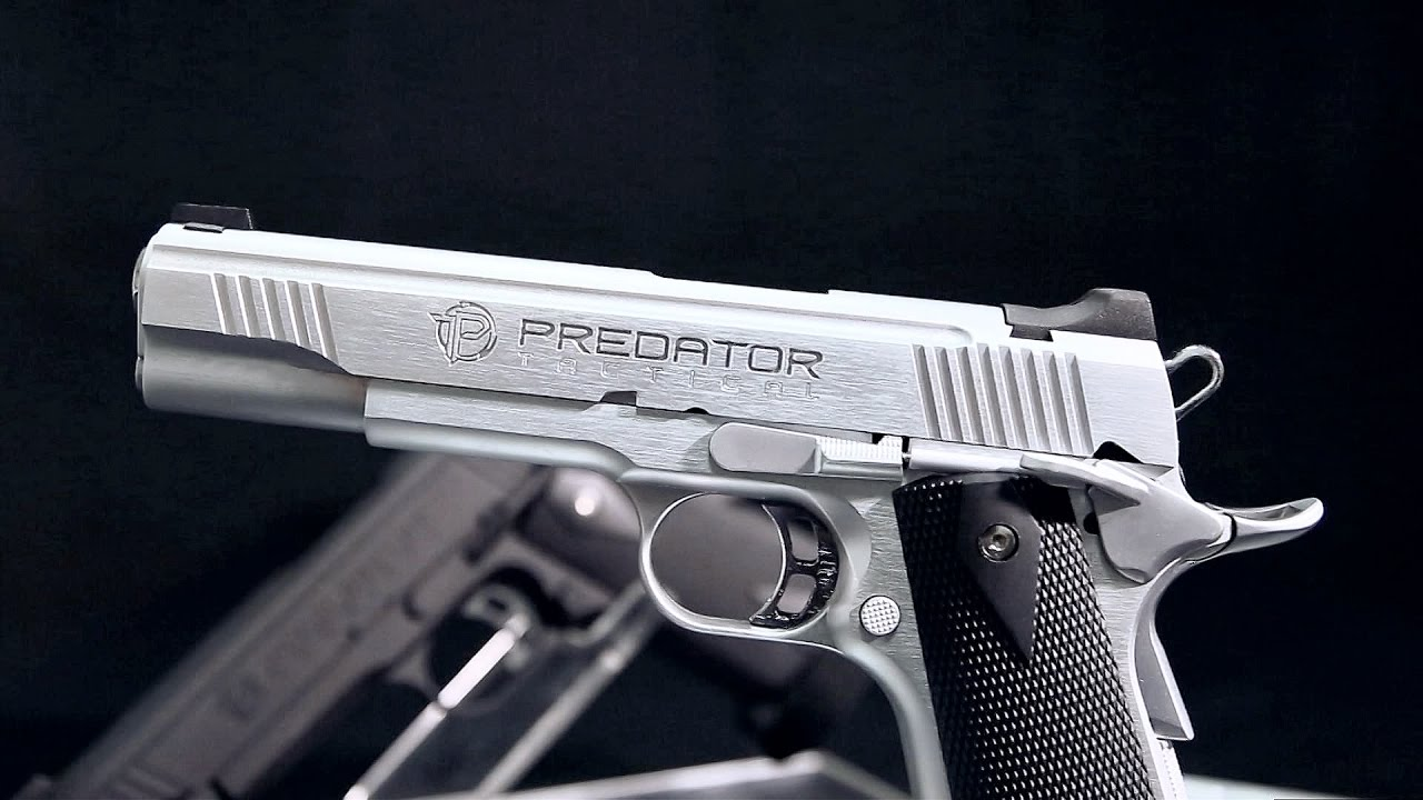 Predator Tactical Iron Shrike Gas Blowback 1911 Pistol by King Arms (Color:  Black / Gas)