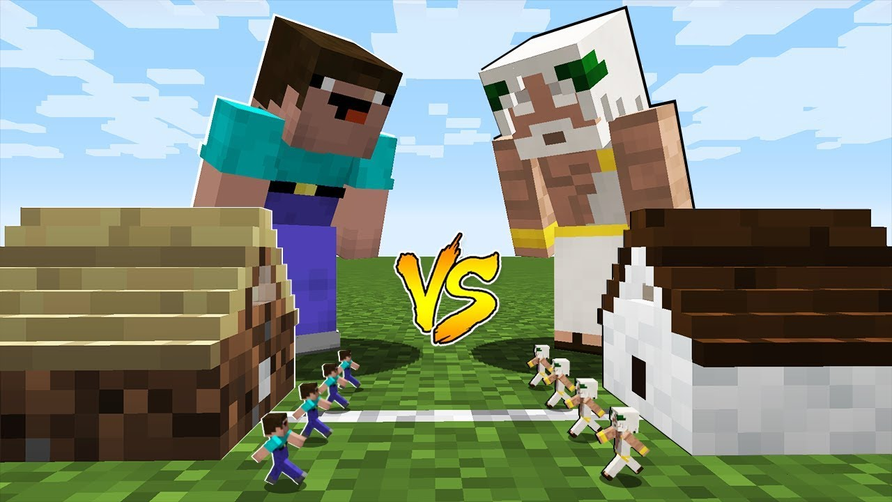 Minecraft Battle Inside Block Noob House Vs God House Youtube