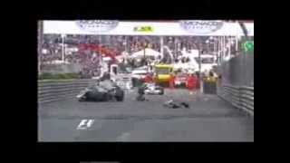 F1 2008 Monaco - Wet conditions - Big crash for Nico Rosberg + others