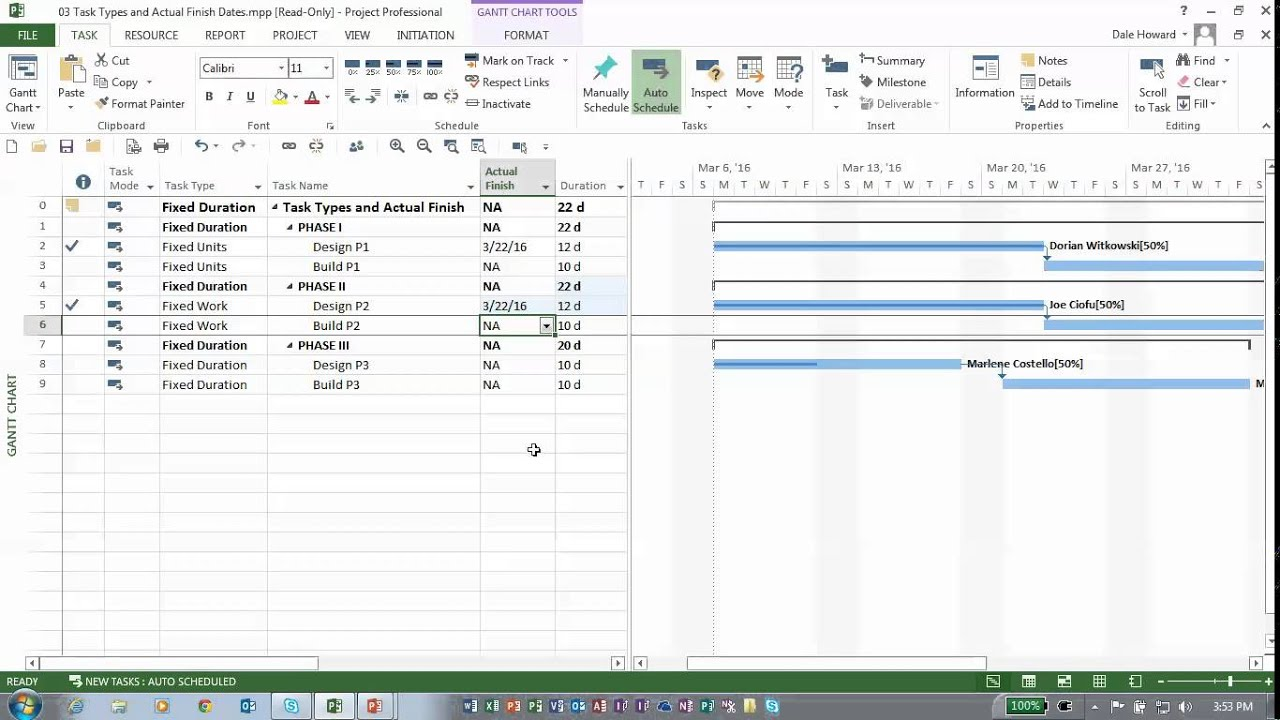 interaction with actual finish dates continued ms project task