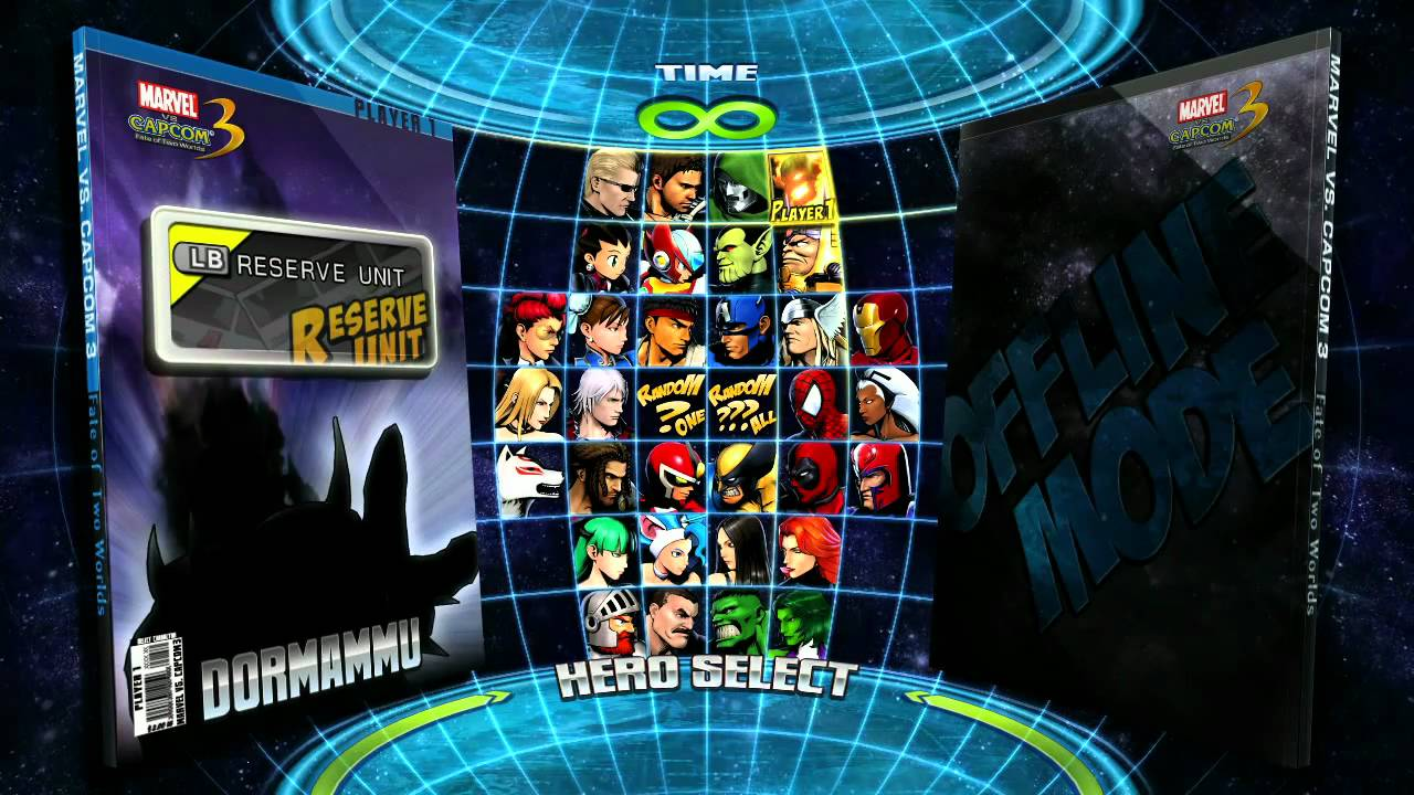 Marvel vs Capcom 3 Character Selection Screen