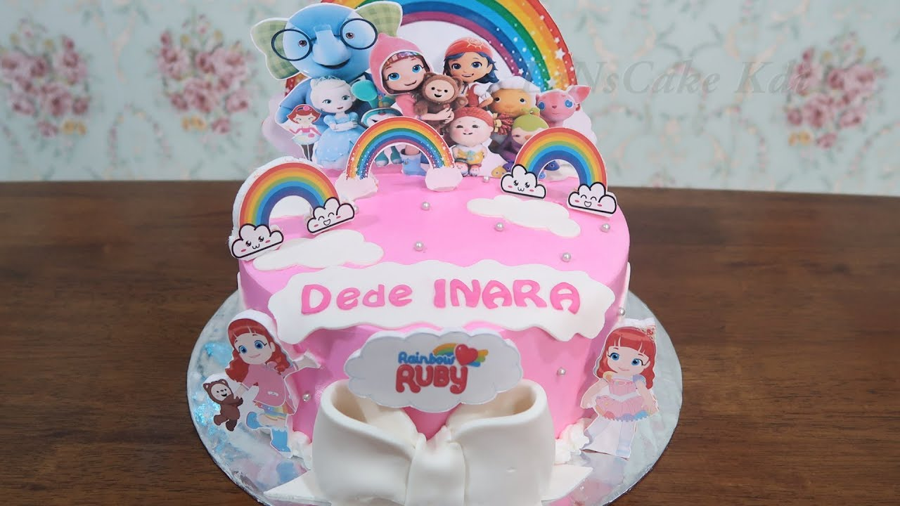 Happy Birthday Cake For Girls Newest Birthday Cake Character Cake Tart Rainbow Ruby