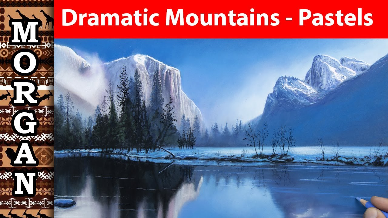 Dramatic mountain scenery using pastel pencils