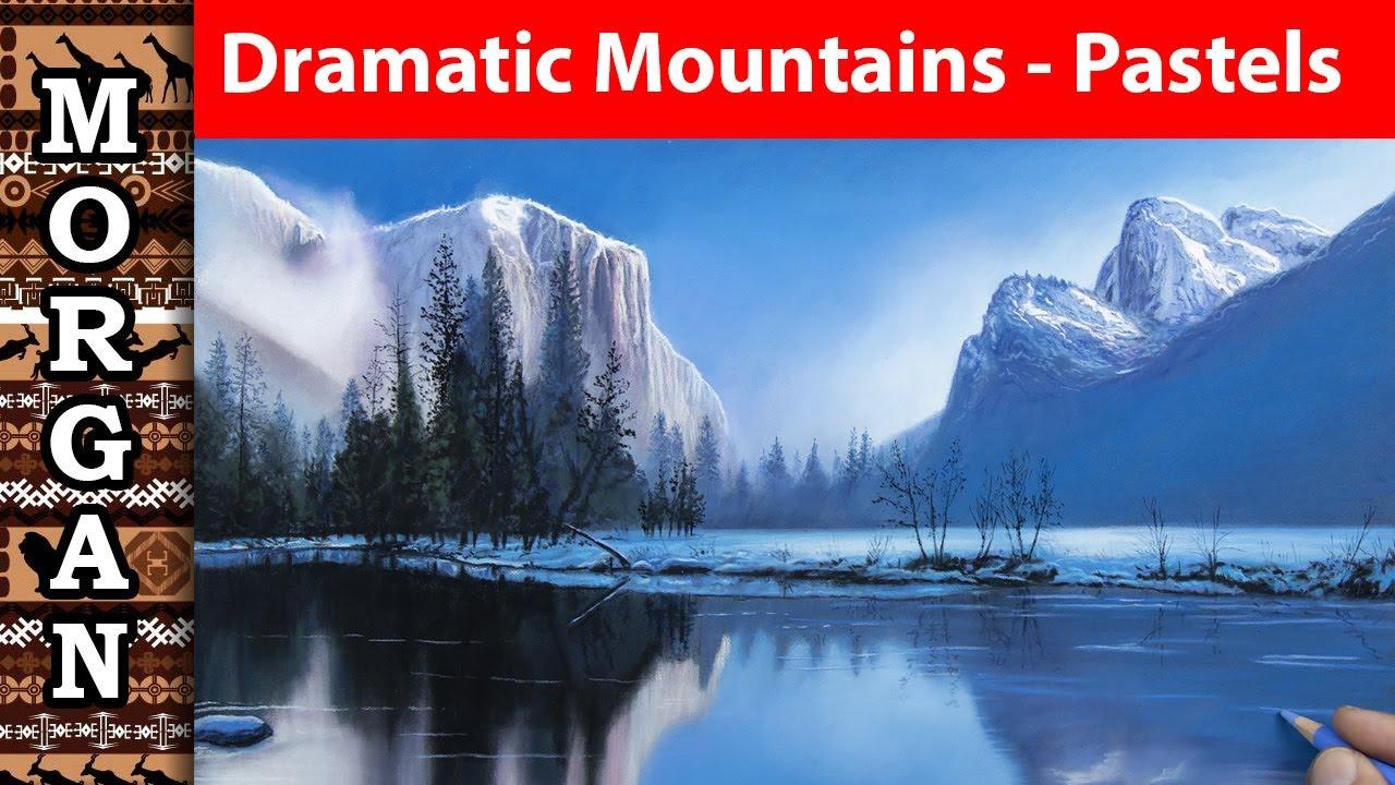 Dramatic mountain scenery using pastel pencils