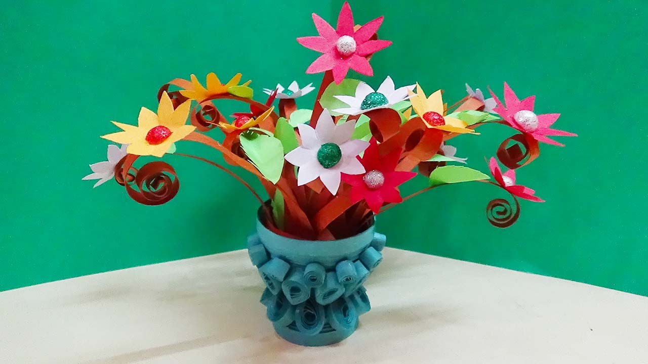 How to make a paper flower pot video yelomdiffusion paper quilling flower vase how to make 3d quilling miniature mightylinksfo