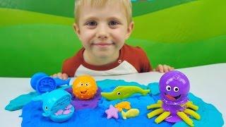 Пластилин Play Doh с морскими животными. Игрушки для детского творчества и развития