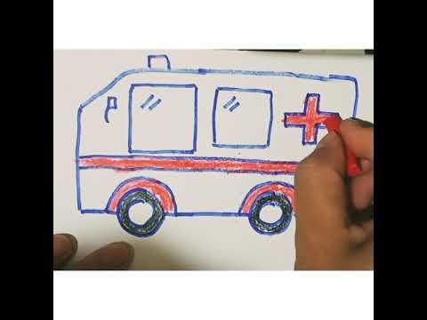 Hướng dẫn cho bé tập vẽ xe ô tô - xe cứu thương đơn giản   Lan Nhi Nani   ambulance drawing