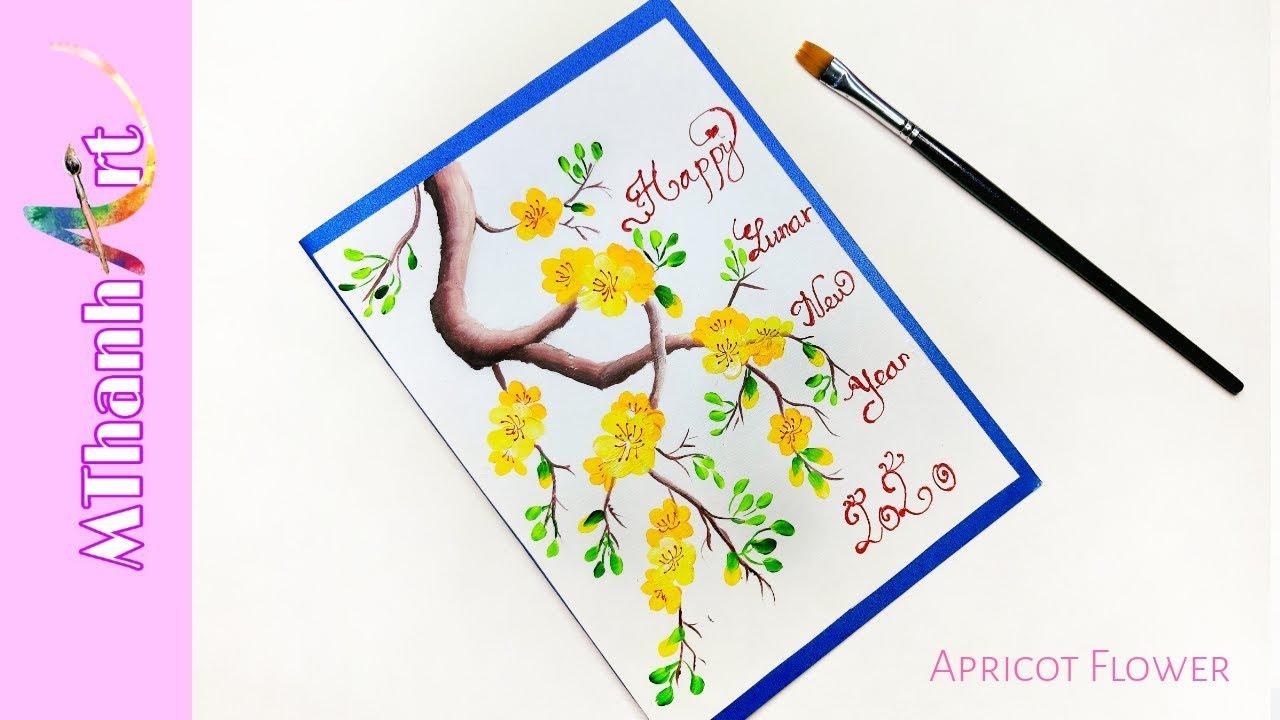 Cách Làm Thiệp Chúc Tết | Vẽ Hoa Mai Đơn Giản | Happy lunar new year | MThanh Art