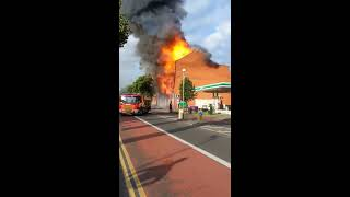 Fire near BP Petrol Station Leicester UK