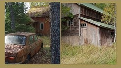 Autiotalo vanha navetta sekä vanhoja AUTOJA ja mopo. Abandoned farm abandoned cars!
