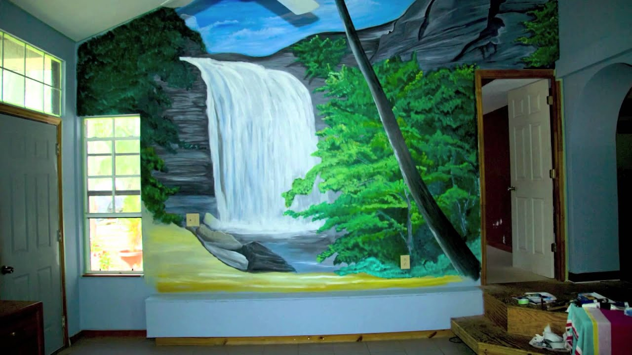 Hand Painted Wall Mural - YouTube