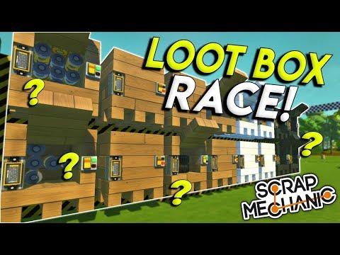 EPIC LOOT BOX UNBOXING CHALLENGE! - Scrap Mechanic Multiplayer Gameplay - Race Challenge