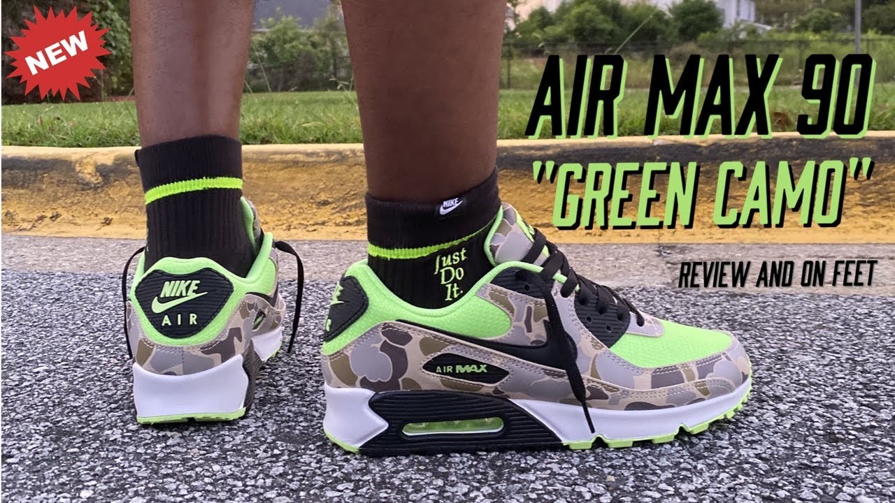 AIR MAX 90 GREEN CAMO REVIEW AND ON FEET