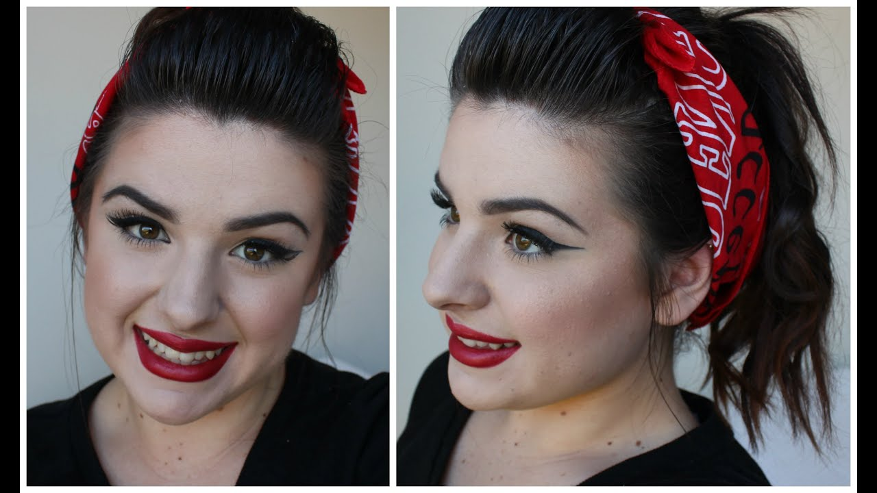 Bandana Hair Style: 50's Inspired Retro Pin Up Hair Style With Bandana