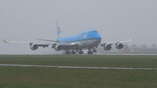 Planes Landing In Heavy Rain At The Polderbaan
