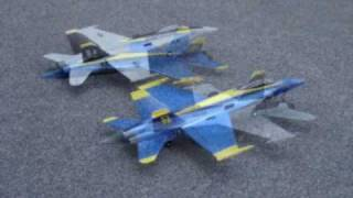 Rc Edf F18 Hornets By Art-tech - Jolly Roger And Blue Angels W/ Crash Into Fence