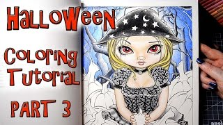Coloring Book Tutorial Part 3 Halloween by Jasmine Becket Griffith with Prismacolor Colored Pencils