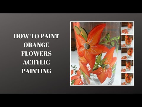 HOW TO PAINT ORANGE FLOWERS ACRYLIC PAINTING | Easy Painting Techniques | Tutorial | Aressa1 | 2019