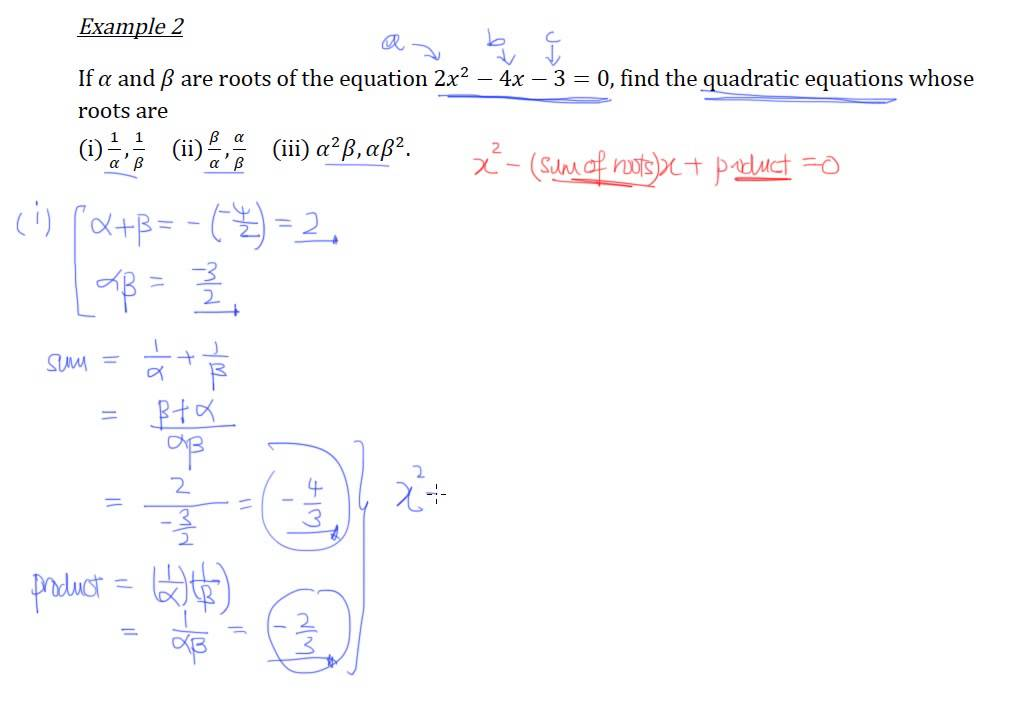 Find Quadratic Equations Using Sum And Product Of Roots Example 2