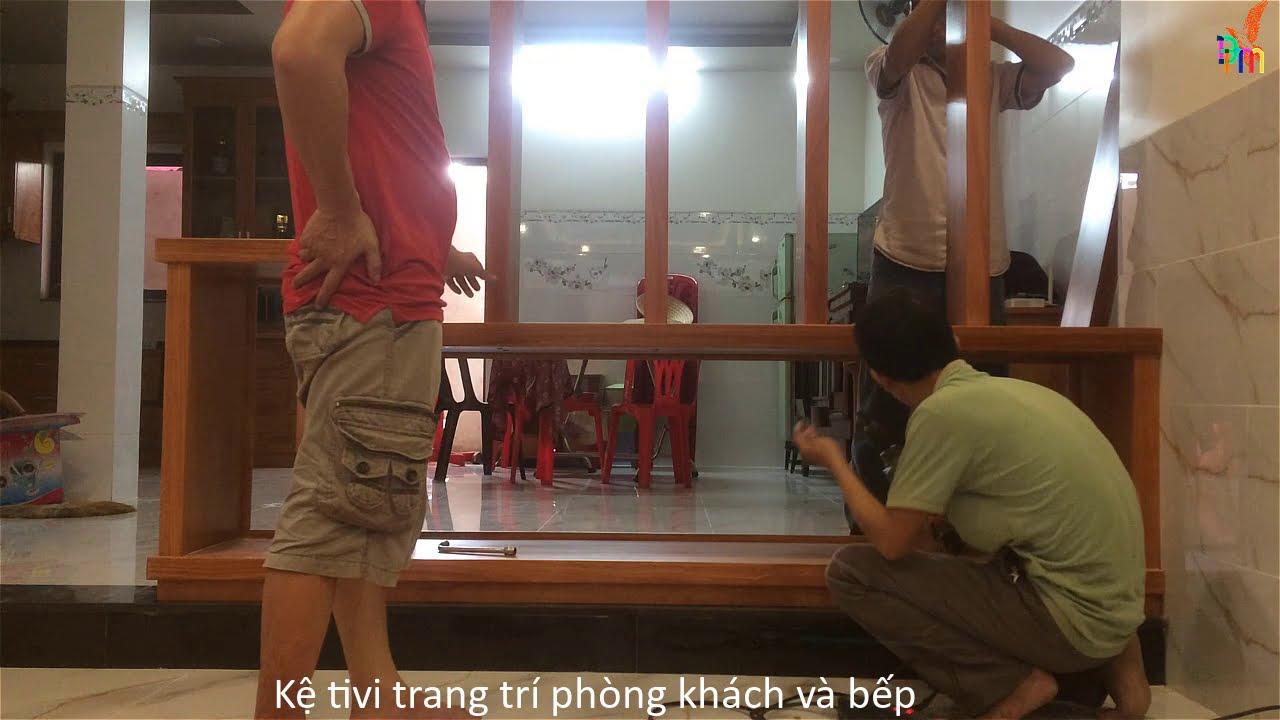 KỆ TI VI PHÒNG KHÁCH /CỘT LAM Gỗ TRANG TRÍ PHÒNG khách và bếp