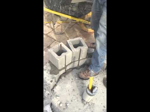 How to lay a curved cinder block wall