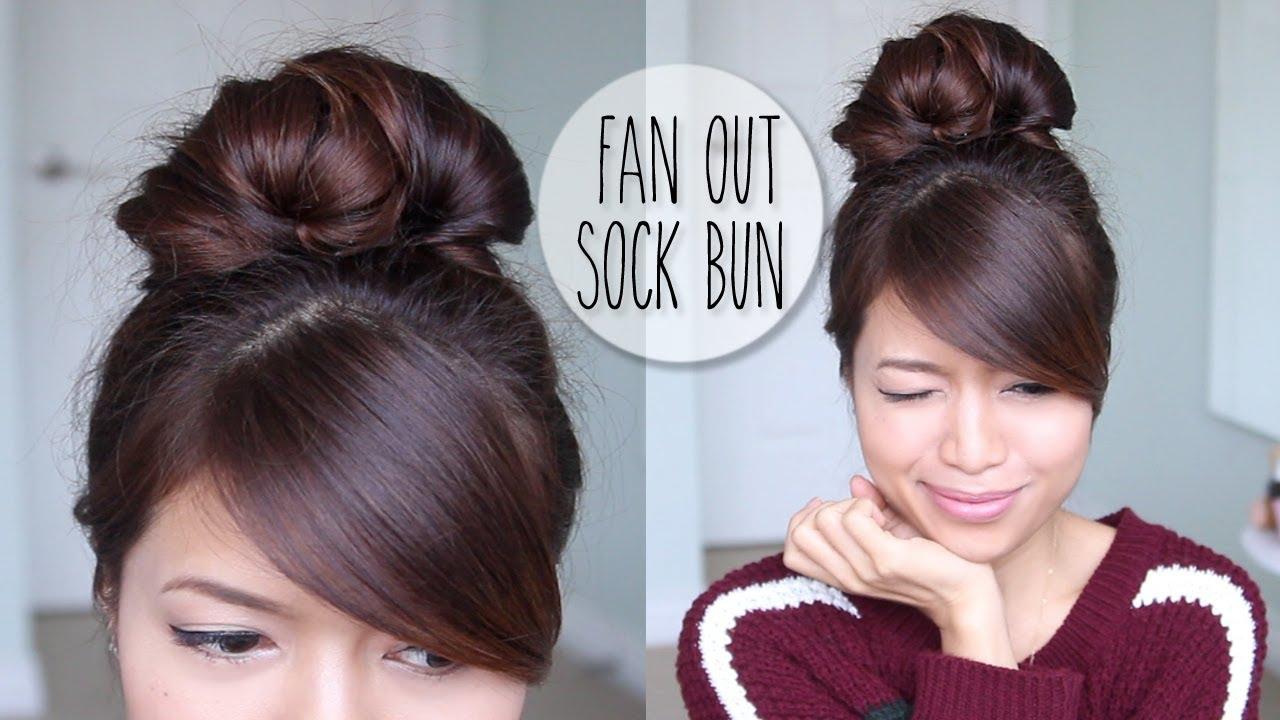 Everyday Fan Sock Bun Updo Hairstyle For Long Hair Tutorial YouTube