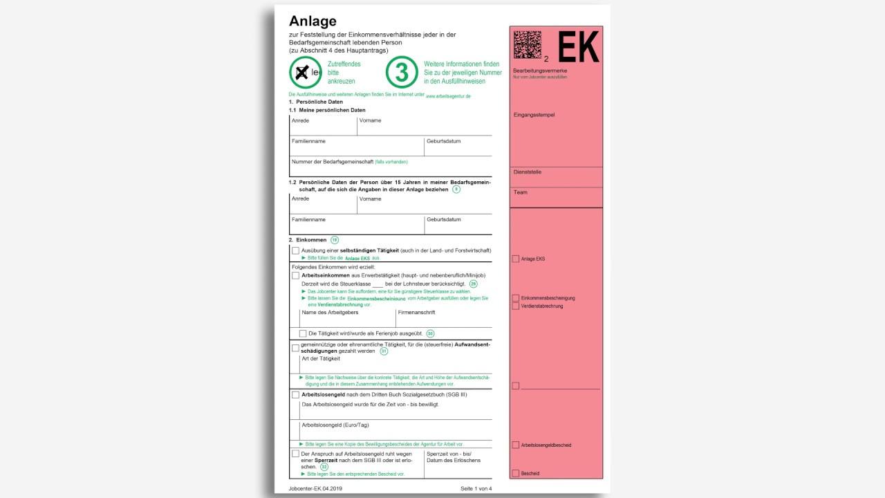 Anlage Einkommen Ek Ausfullen Jobcenter Rhein Neckar Kreis Youtube