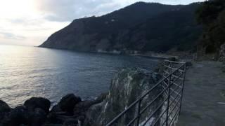 Tramonto Nel Mare Dalla Passeggiata Di Framura (SP) Liguria