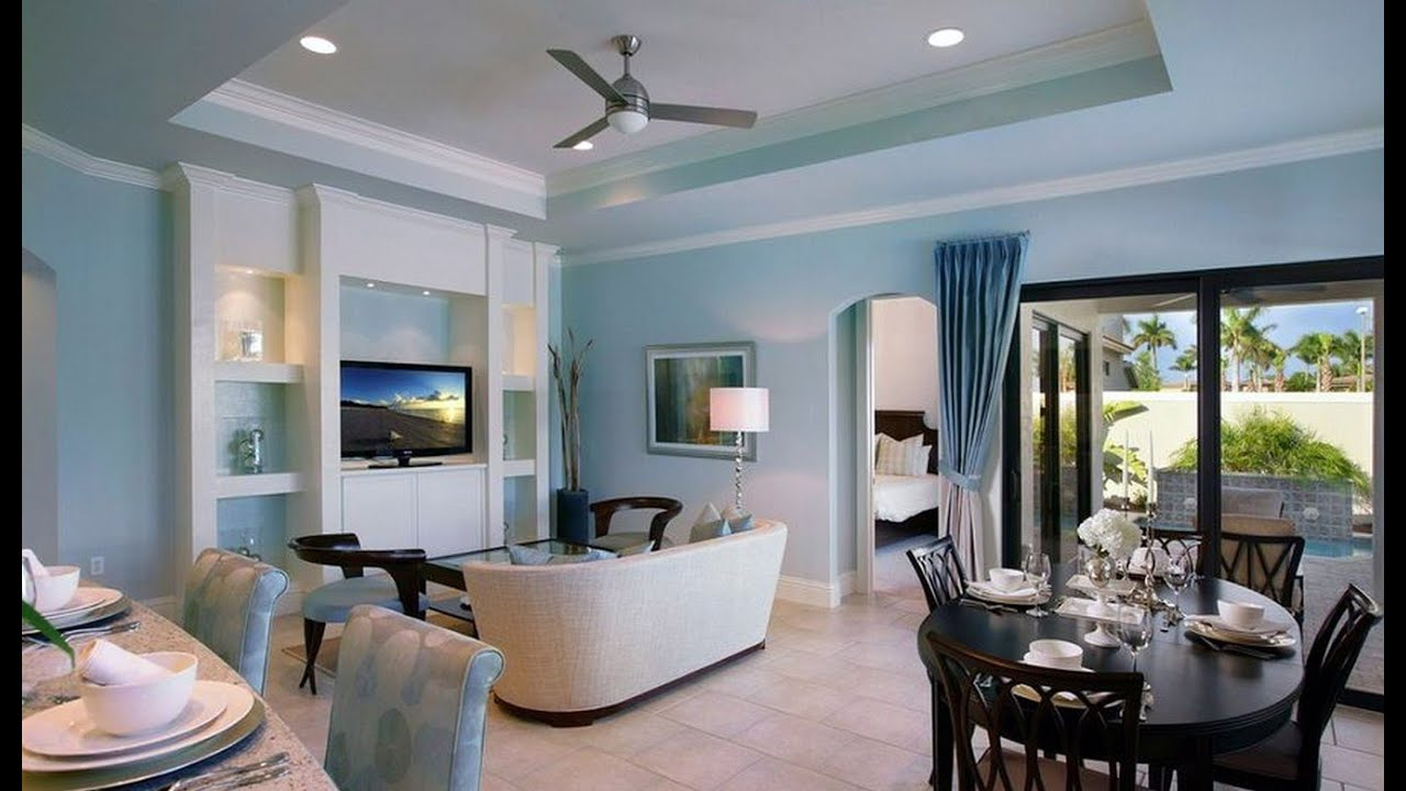 Light blue walls rendering living room - YouTube