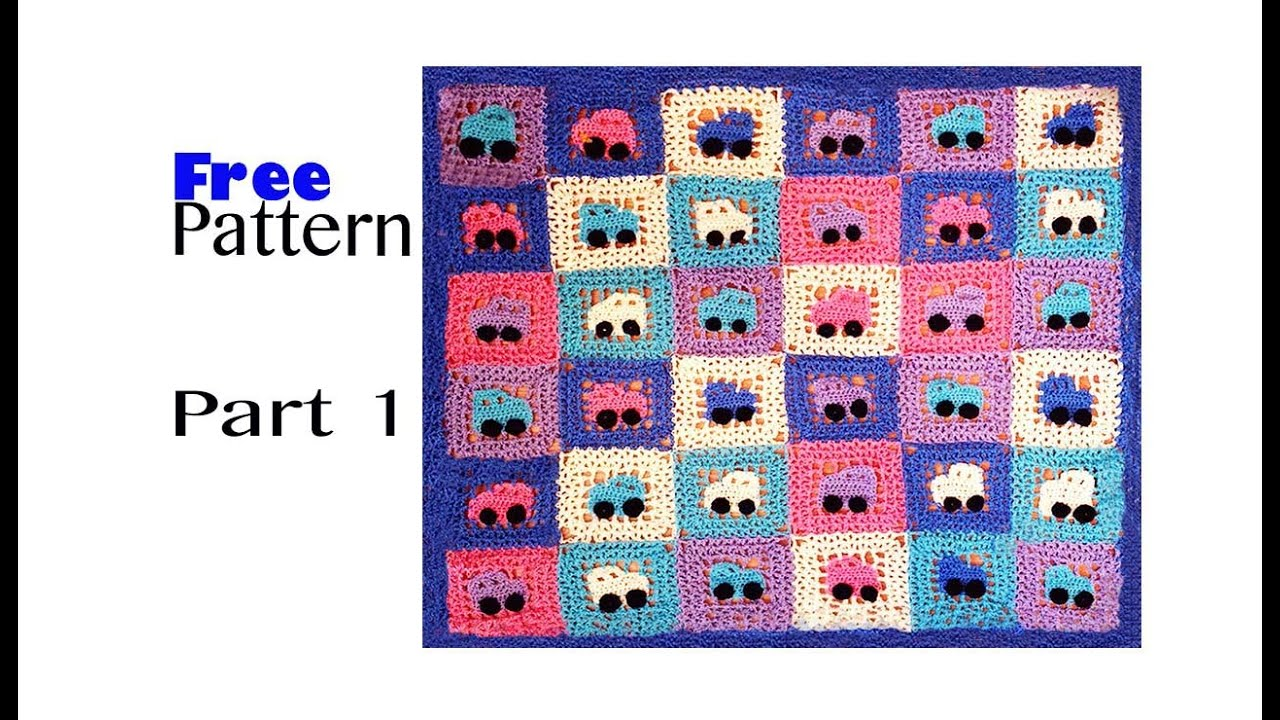 Crochet Blanket With Cars - Tutorial part 1, Embellishment, Applique ...