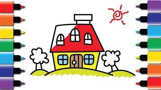 How to draw Colourful House - Drawing and Colouring book for kids fun