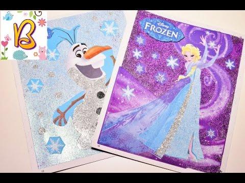 Делаем картинки Эльзы и Олафа из блёсток Making pictures of Elsa and Olaf sequins