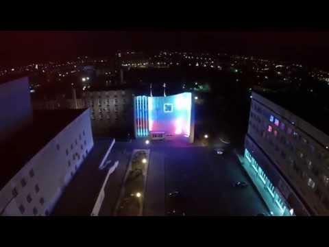 Центр Орла ночью с высоты