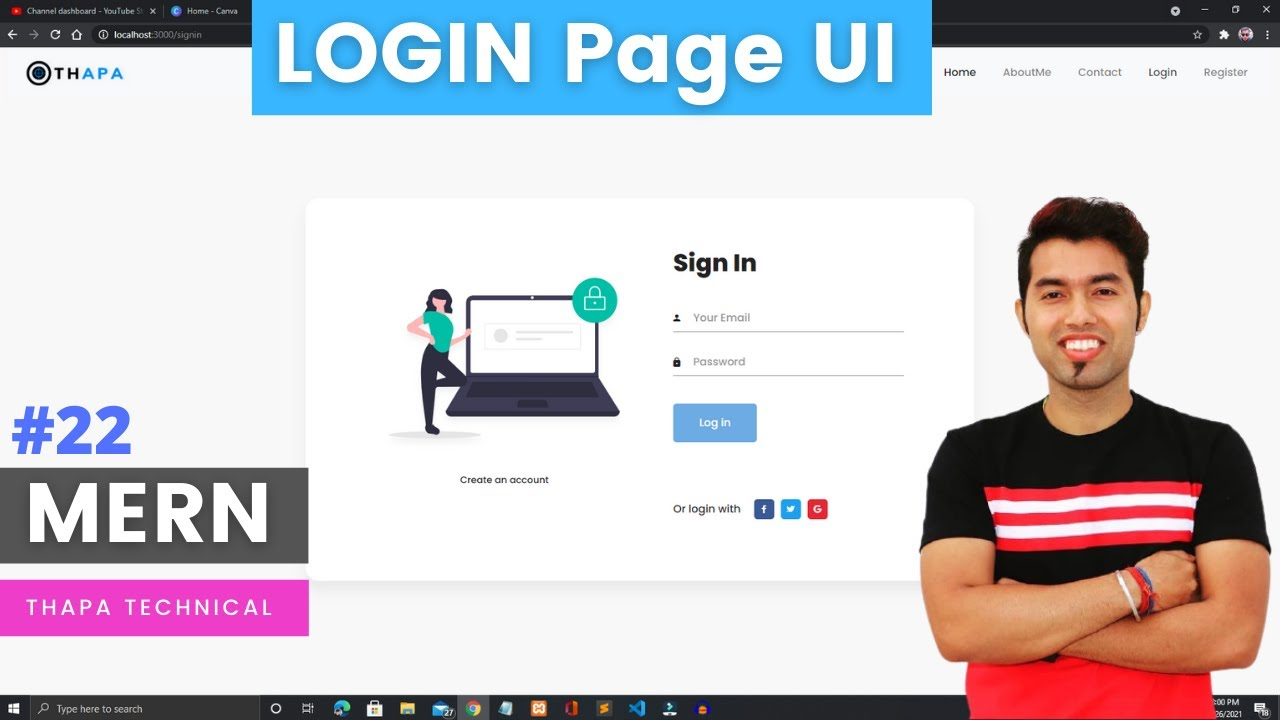 Create LOGIN Page UI using REACT | SignIn Form in MERN STACK Project