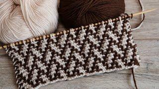 🧩 Узор «Елочка» или  «Плетенка» спицами – мозаичная техника вязания 🌲 Mosaic Knitting 🧩
