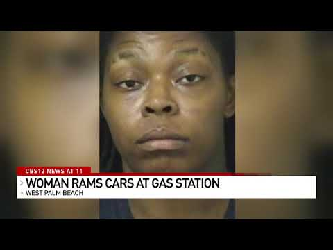 Woman Rams Cars At Gas Station In West Palm Beach