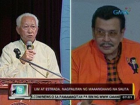 24 Oras:  Lim at estrada, nagpalitan   ng maaanghang na salita