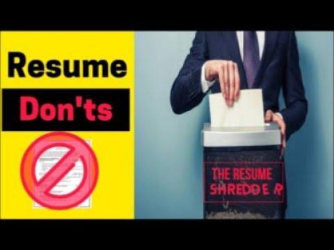 Resume Don\u0027ts - Common Resume Mistakes - Resume Tips - YouTube