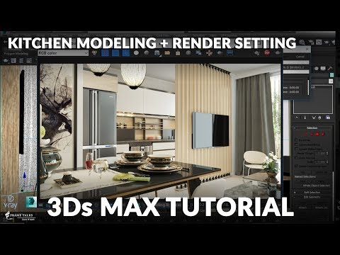 3Ds MAX MODELING KITCHEN INTERIOR + Vray