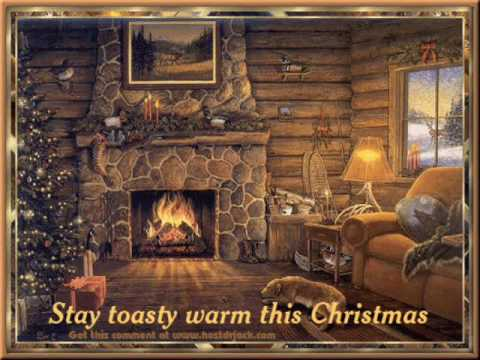 The Christmas SongNat King Cole With A Cozy Log Cabin Fireplace - Christmas cabin fireplace scenes