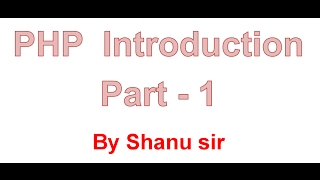 php introduction part1