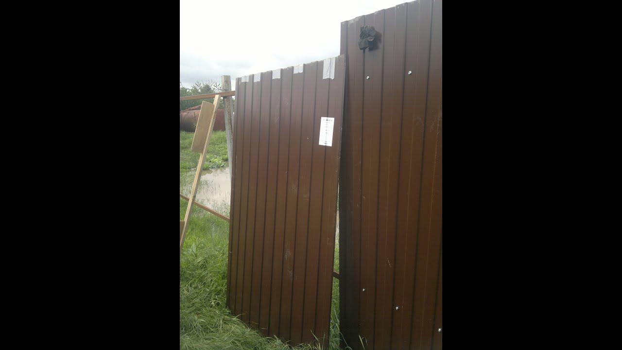 Как прикрепить профлист на забор железные ворота с калиткой для дома схемы