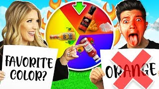 Wife vs Husband Rainbow Mystery Spin Wheel Spicy Food Challenge! (Newly Wed Game)