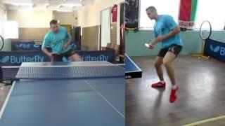 Уроки настольного тенниса: Накат слева в движении