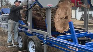 """American Bandsaw Co. 50"""" Custom Wide Live Edge Portable Bandsaw Mill -Sawing 208 Year Old Ash log"""