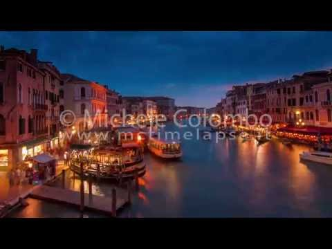 0059 - time lapse - Night falls over Grand Canal in Venice - 4K