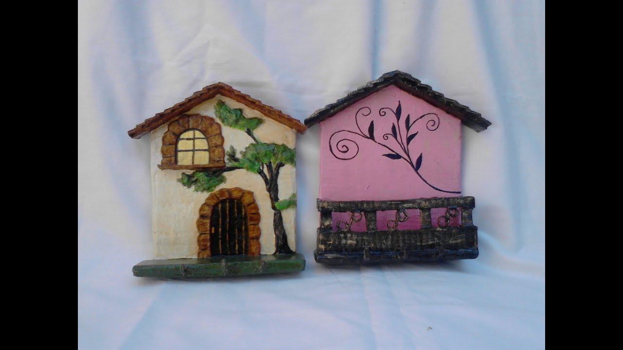 Portallaves y porta sobres hecho de carton youtube - Porta llaves pared ...