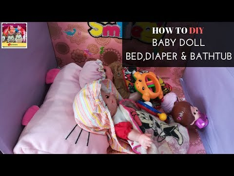 How To DIY Baby Doll Bed, Diaper and Bath Tub